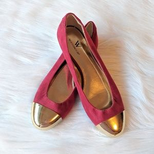 Worthington Red and Gold Cap Toe Flats Size 7M